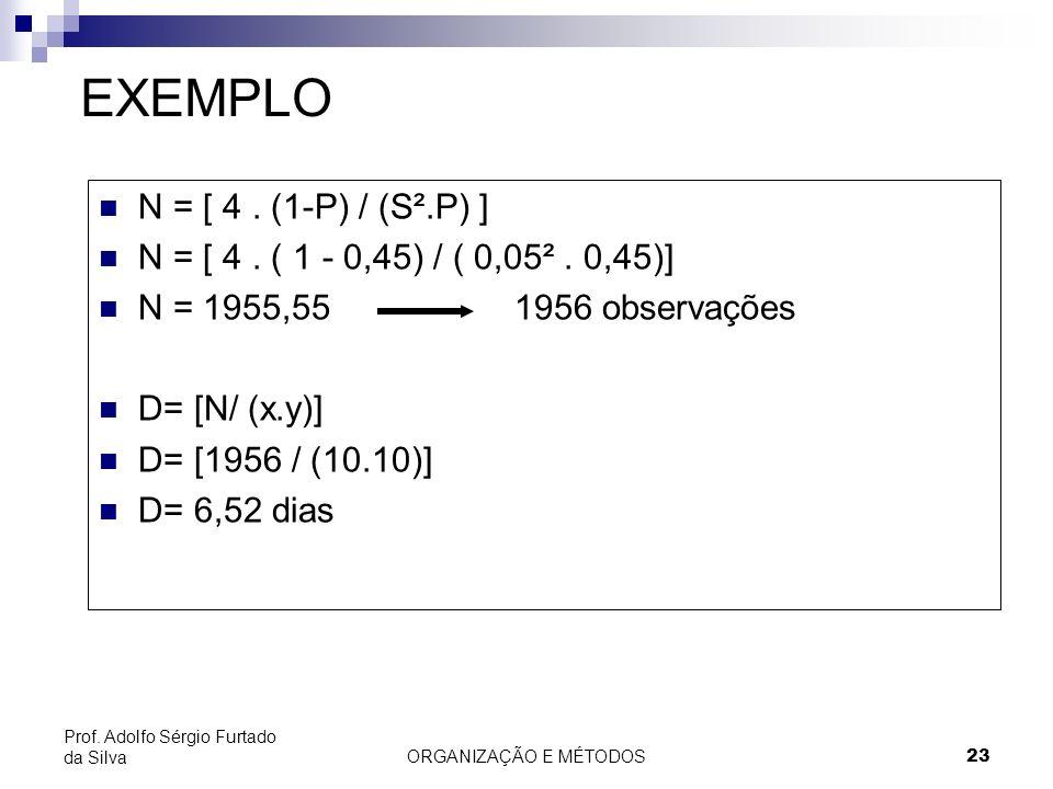 EXEMPLO N = [ 4 . (1-P) / (S².P) ]